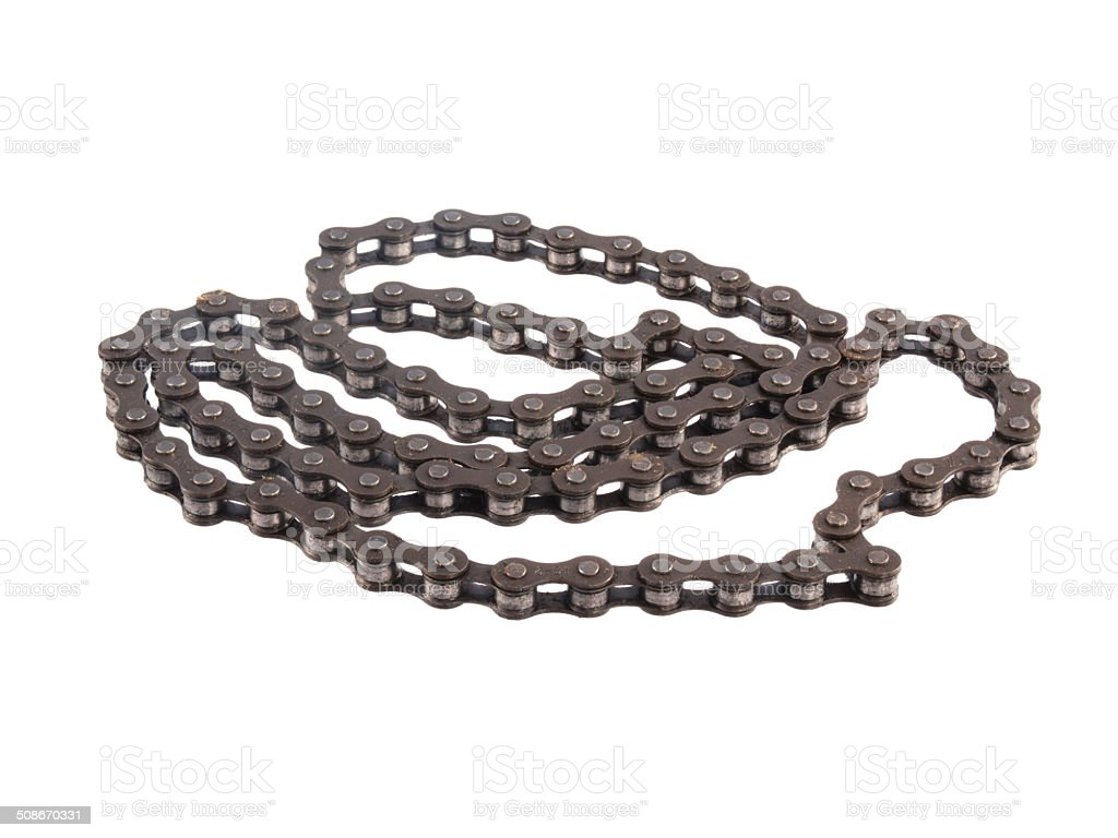 Bicycle chain on a white background. stock photo