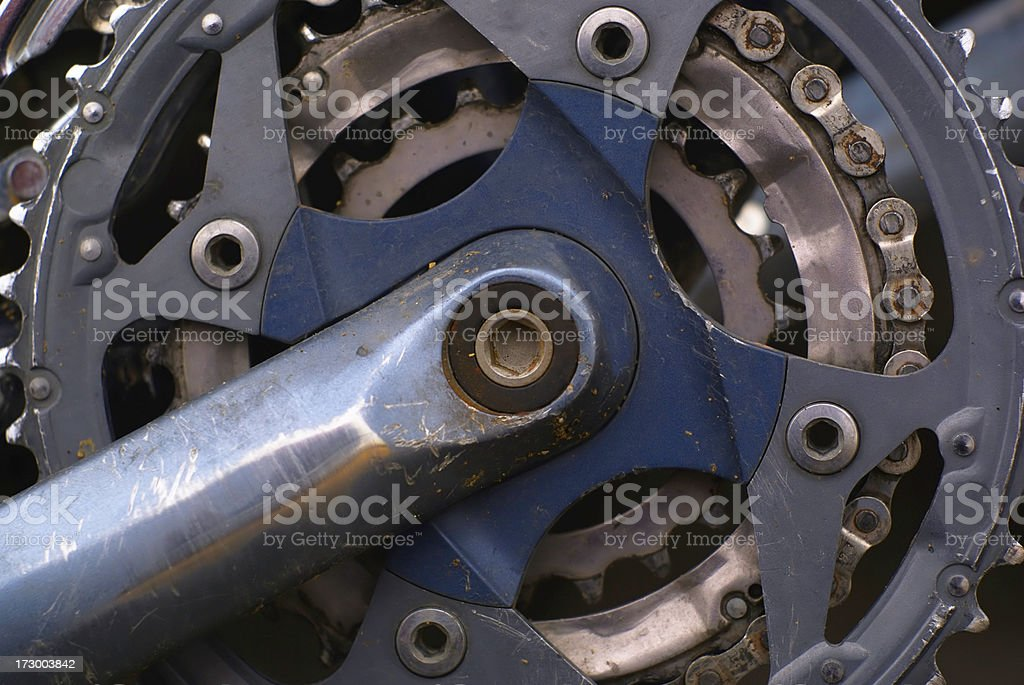 bicycle chain rings and crank royalty-free stock photo