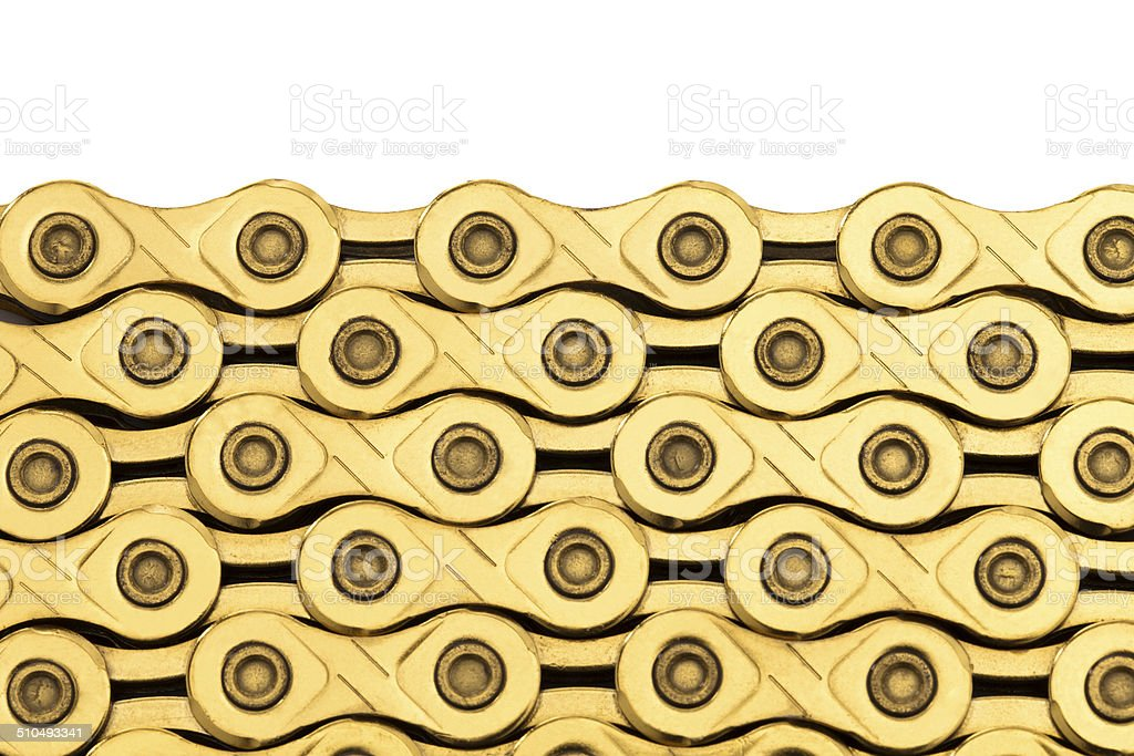 Bicycle chains on white background. stock photo