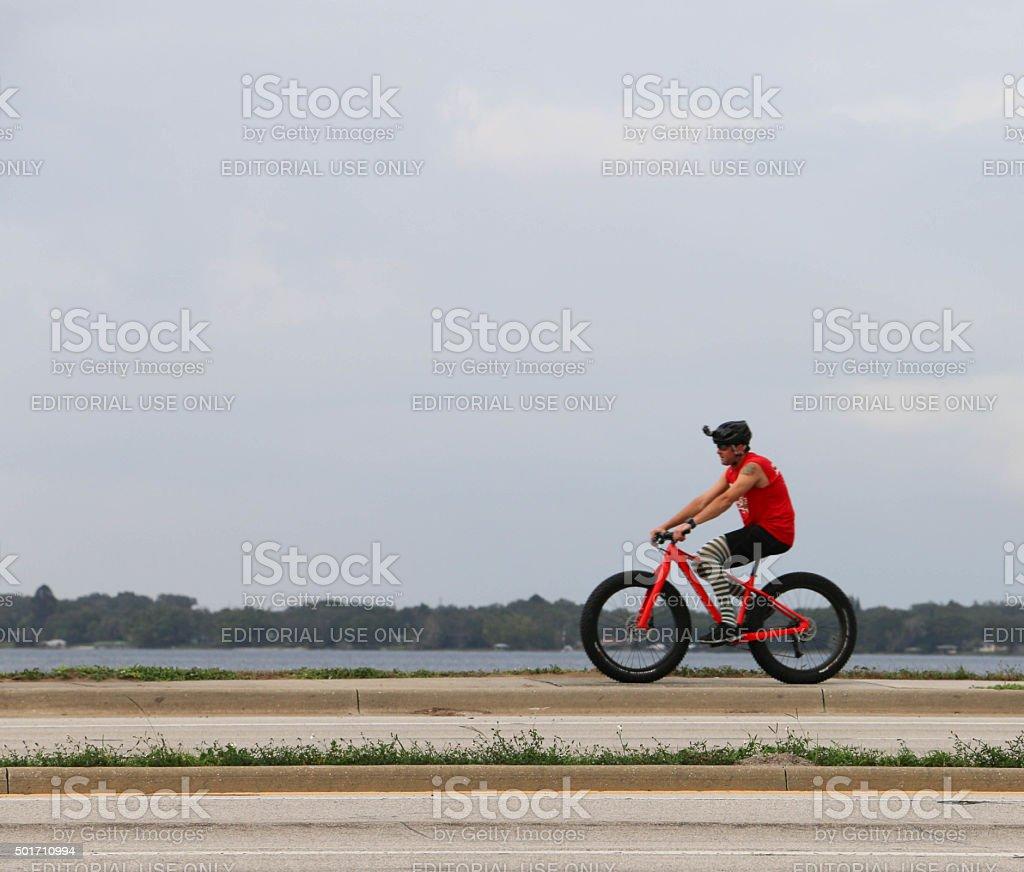 Bicycle Christmas Ride stock photo