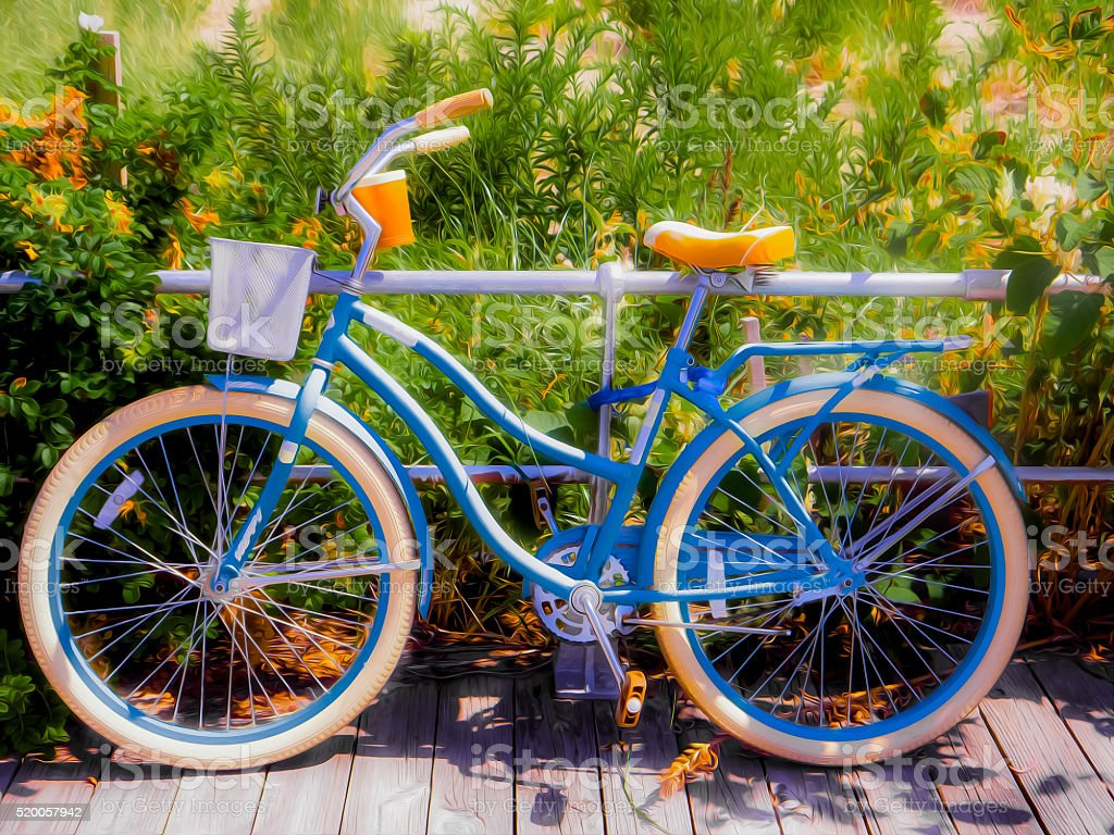 Bicycle, colorful beach cruiser on the boardwalk stock photo