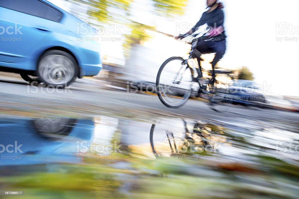 Bicycle commuting royalty-free stock photo