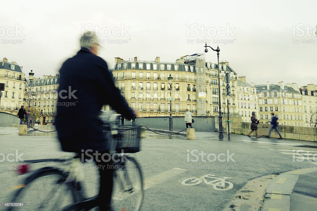 Bicycle commuting stock photo