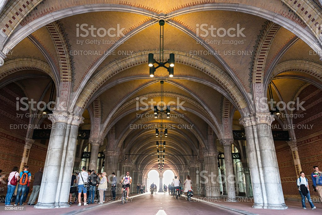 Bicycle corridor under the Rijksmuseum, Amsterdam stock photo
