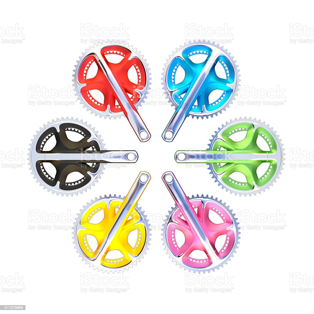 Bicycle crank set with chain rings (High resolution 3D render) stock photo