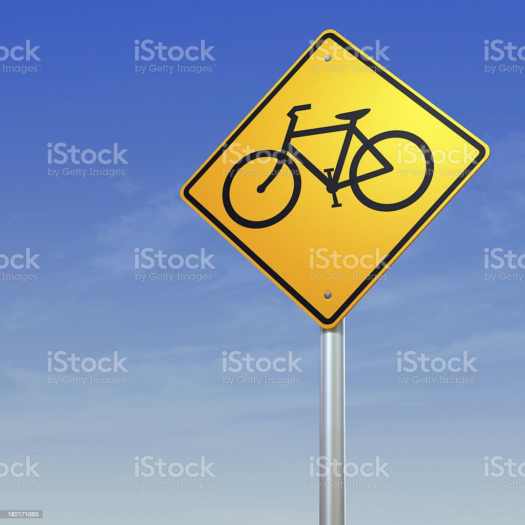 Bicycle crossing- yellow warning road sign royalty-free stock photo