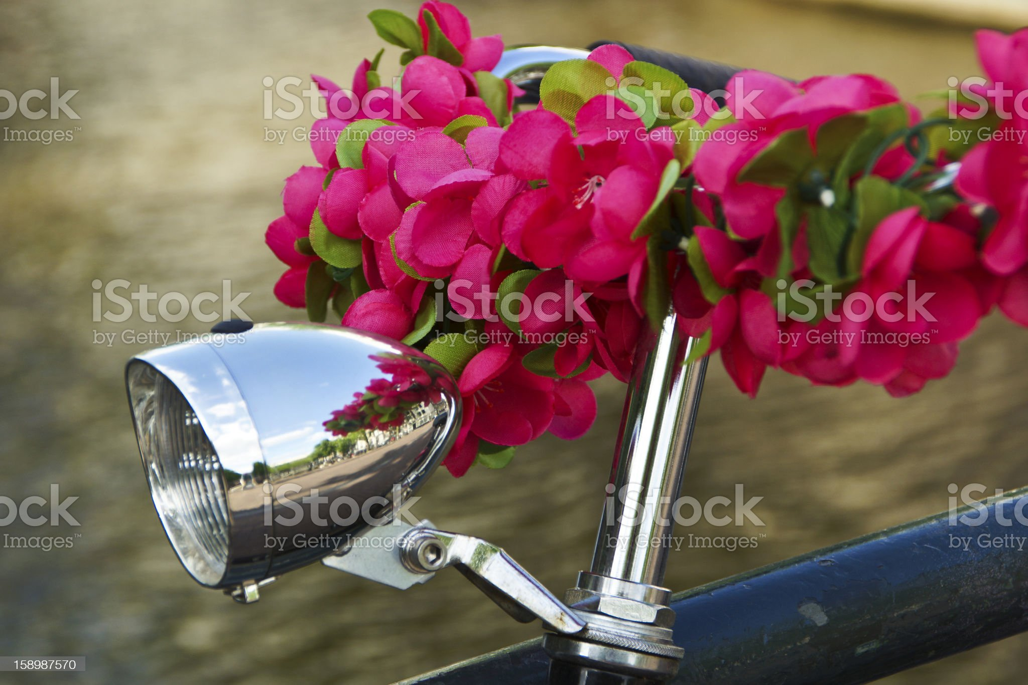 Bicycle decorated with flowers royalty-free stock photo