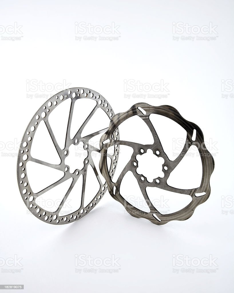 bicycle disc brake rotors isolated stock photo