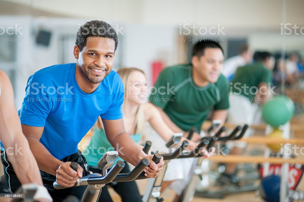 Bicycle Spinning Exercise Class stock photo