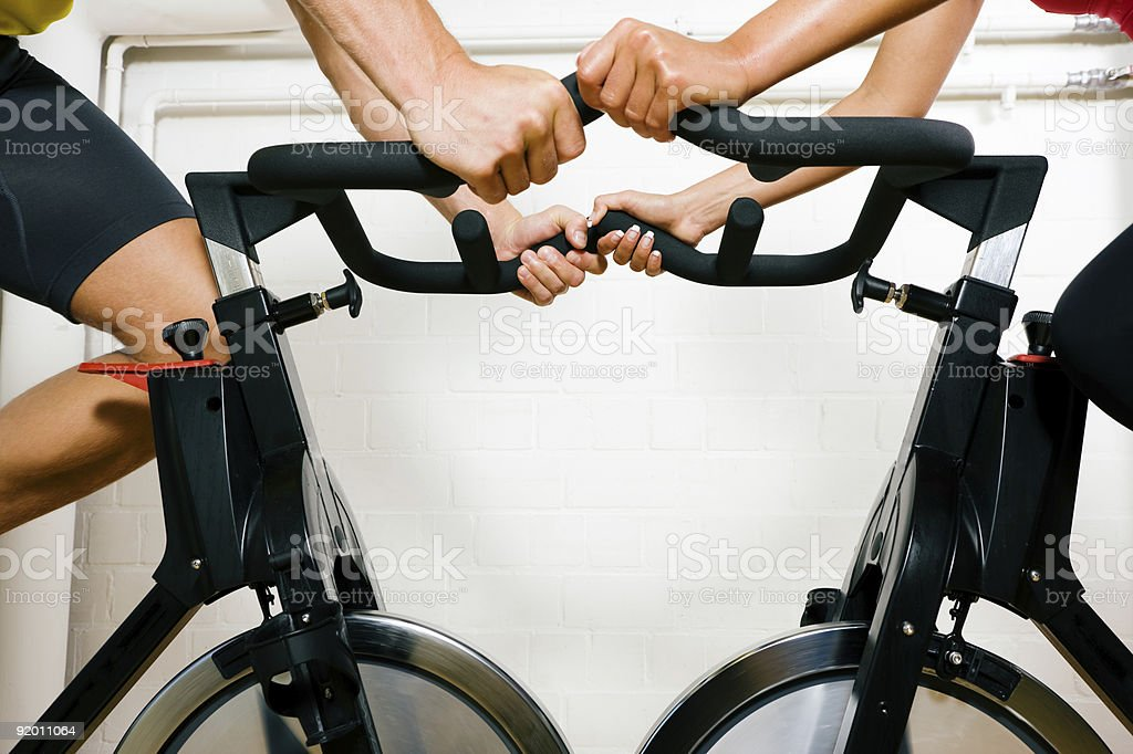 Bicycle spinning in the gym royalty-free stock photo