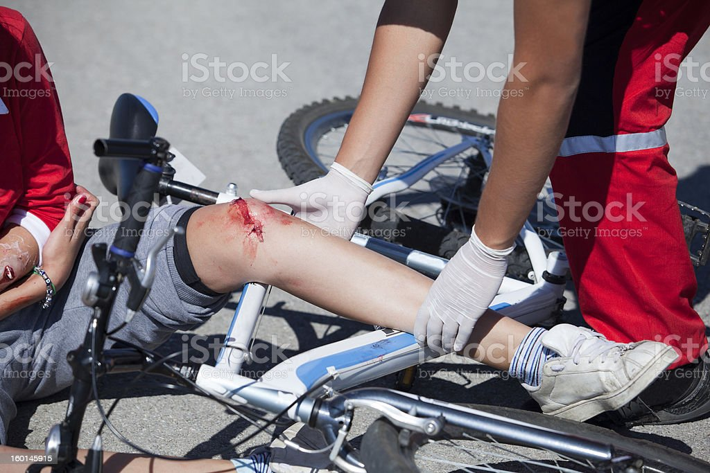 Bicycle fall royalty-free stock photo