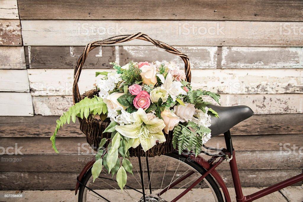 Bicycle flower basket stock photo