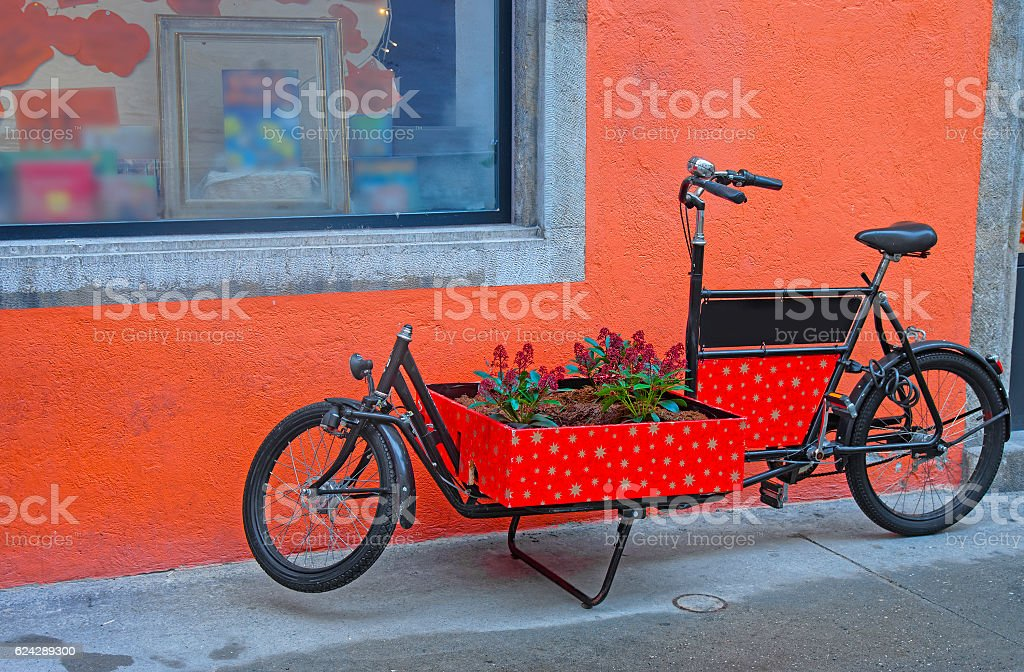 Bicycle Flower Bed in the Old City of Solothurn stock photo
