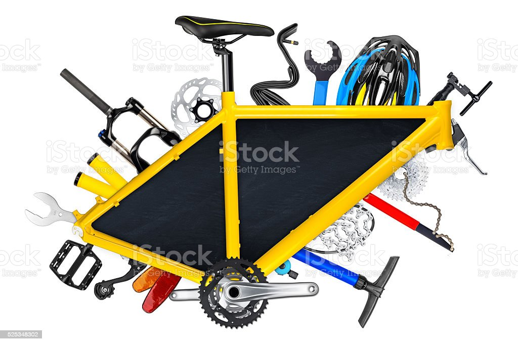 bicycle frame blackboard concept stock photo