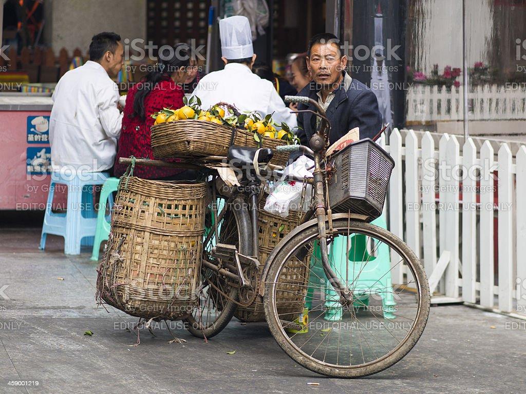 Bicycle fruit stall, Chengdu, China royalty-free stock photo