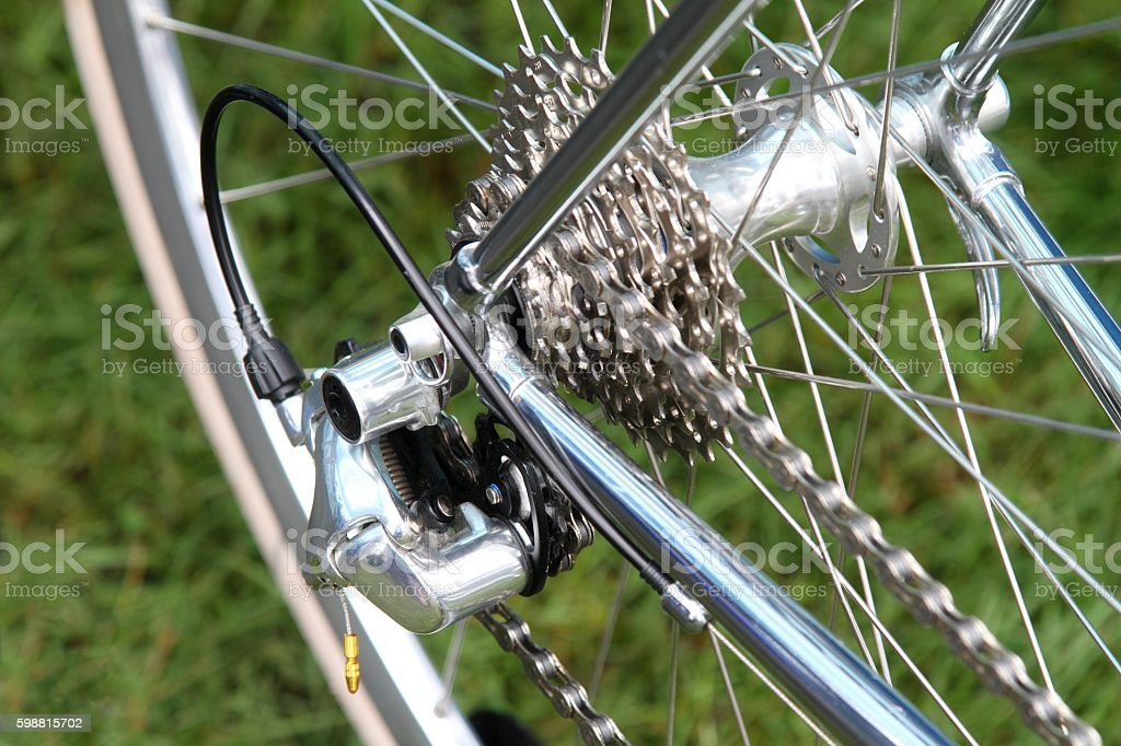 Bicycle gears and chain on a racing-bike. stock photo