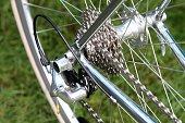 Bicycle gears and chain on a racing-bike.
