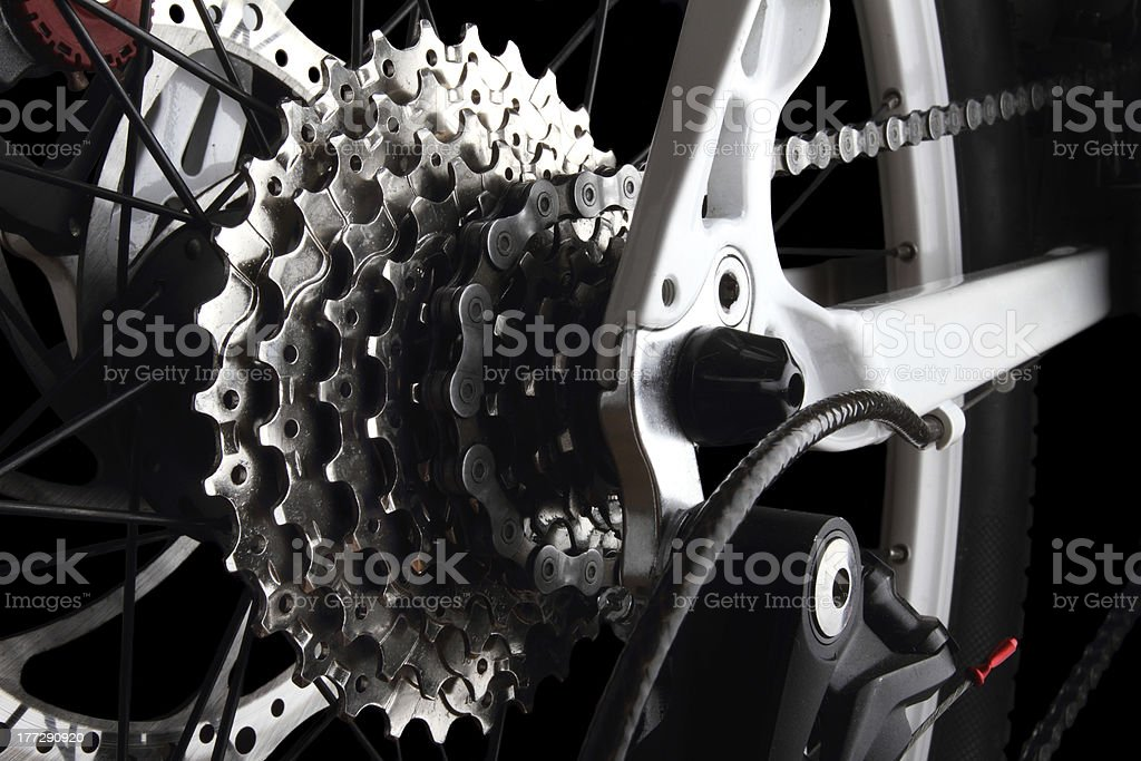 Bicycle gears and rear derailleur stock photo