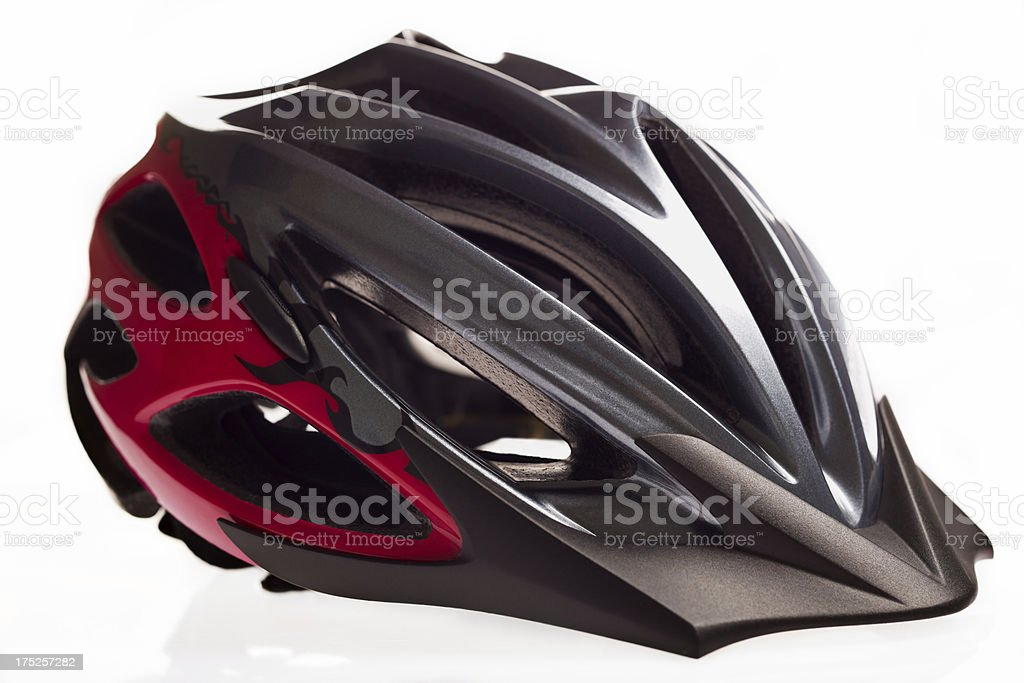 Bicycle helmet on white background. stock photo