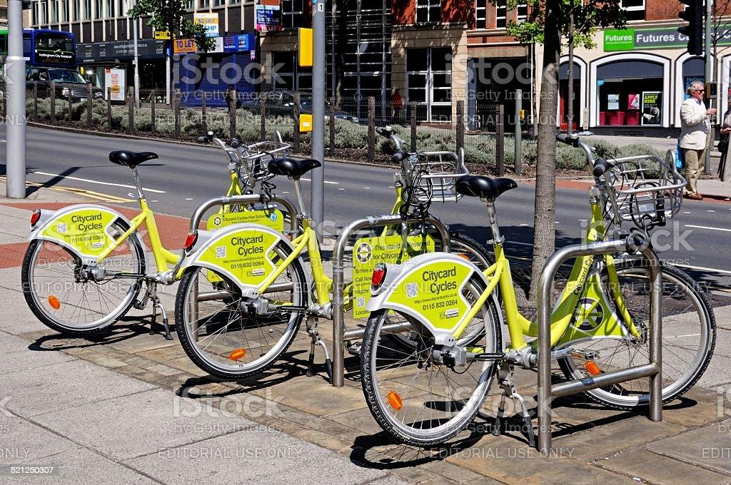 Bicycle hire rank, Nottingham. stock photo