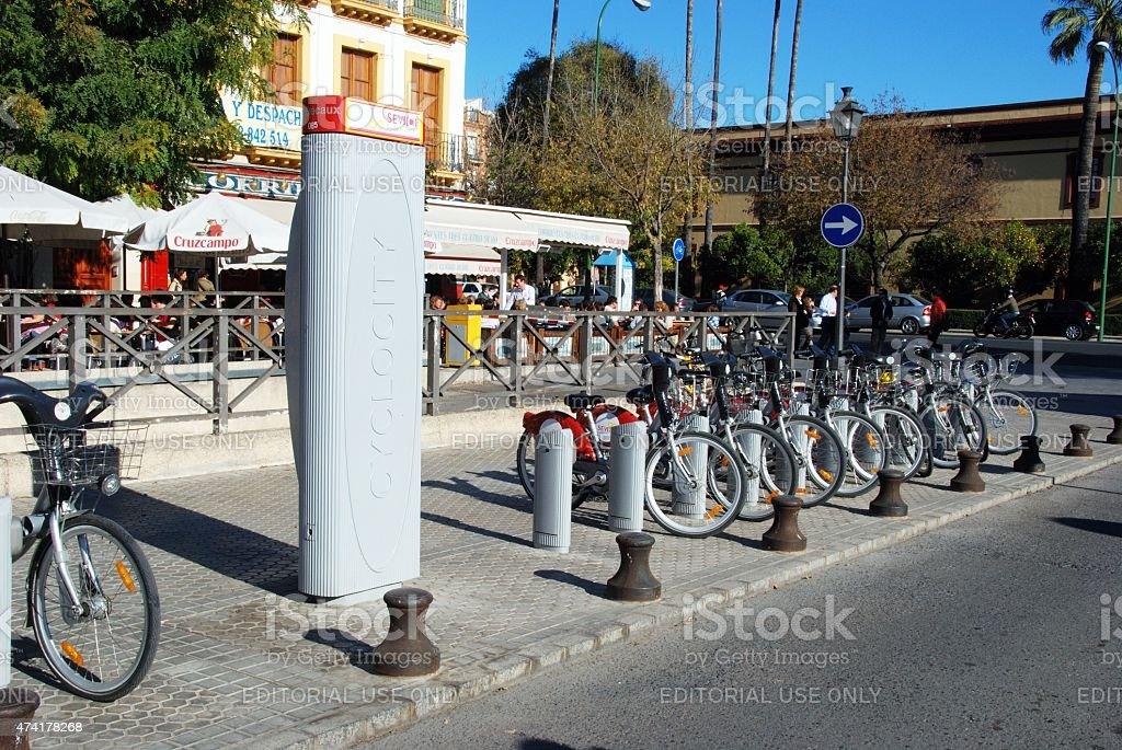 Bicycle hire rank, Seville. stock photo