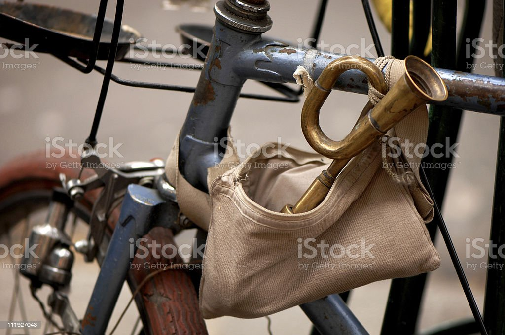 Bicycle Horn on Bike Paris France stock photo