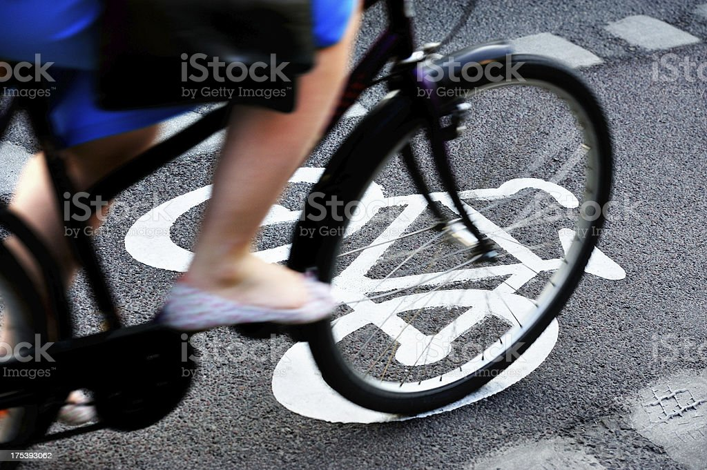 Bicycle in bike lane royalty-free stock photo