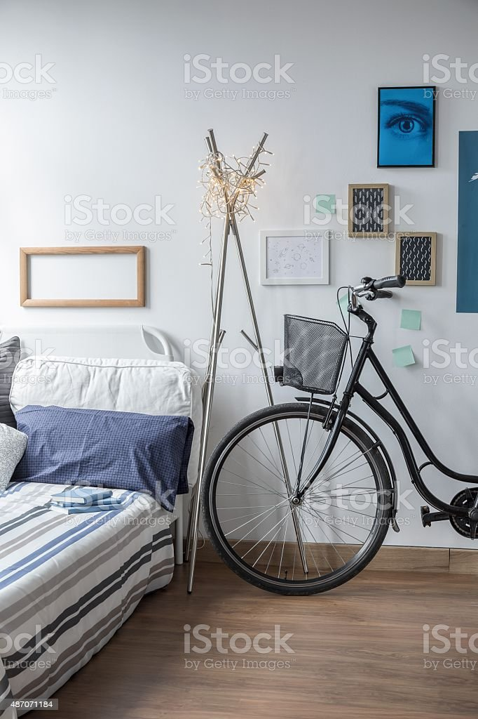 Bicycle in modern bedroom stock photo