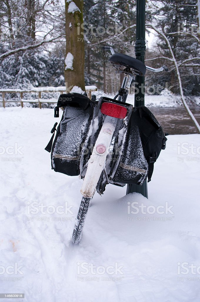 bicycle in snow royalty-free stock photo