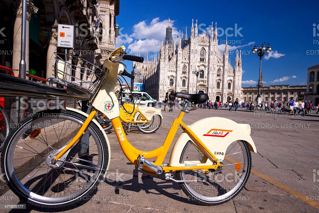 Bicycle in square Duomo a Milano royalty-free stock photo