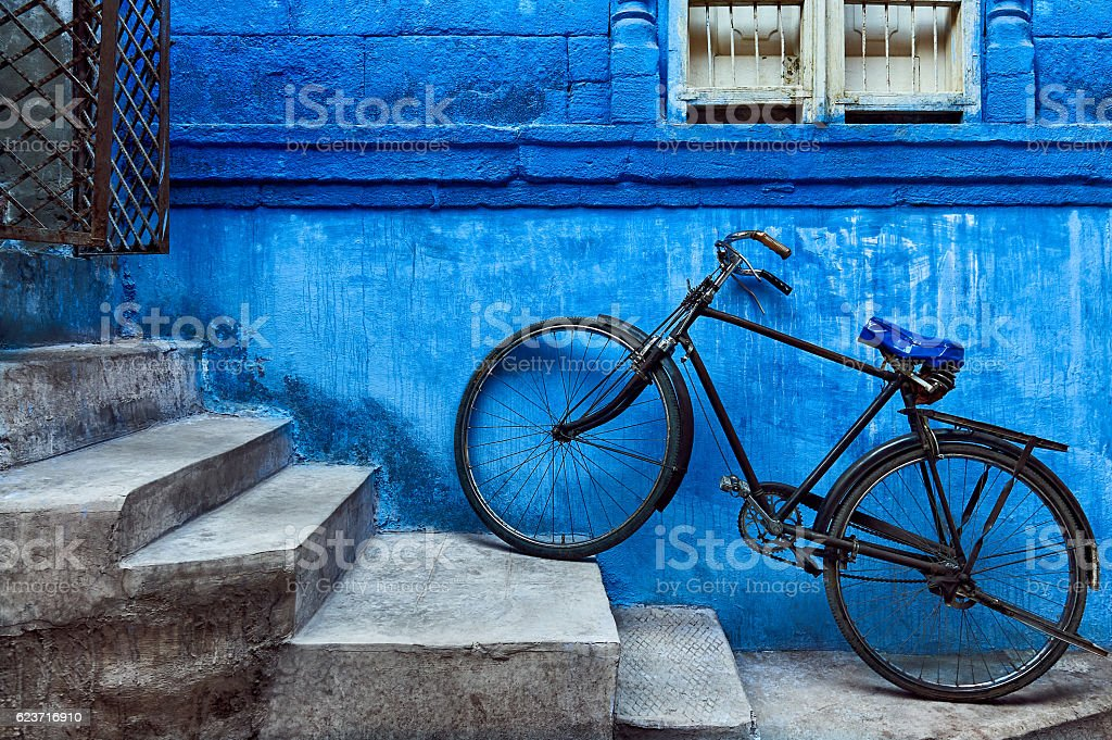 Bicycle in the Blue City of Jodhpur stock photo