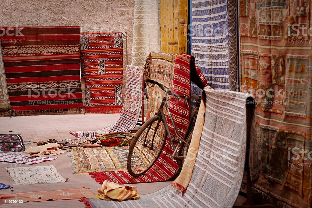 Bicycle in the carpet market royalty-free stock photo