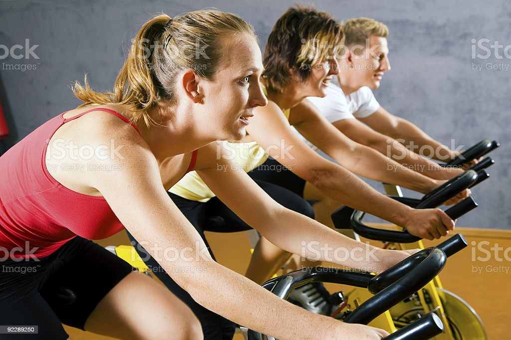 Bicycle in the gym royalty-free stock photo
