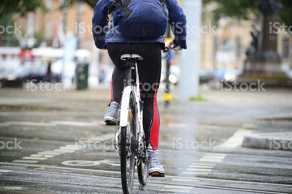 Bicycle in the rain royalty-free stock photo