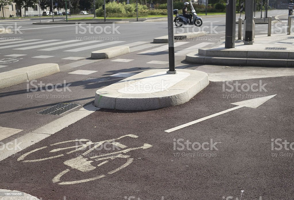 Bicycle lane in a large urban centre royalty-free stock photo