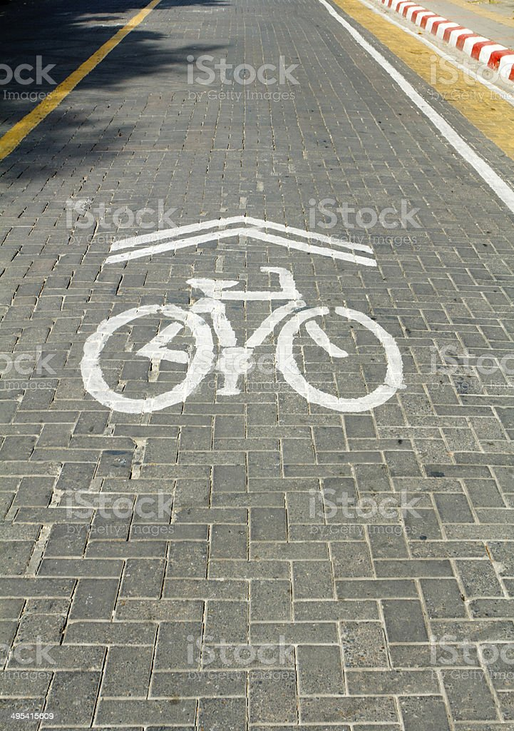 Bicycle lane in downtown stock photo