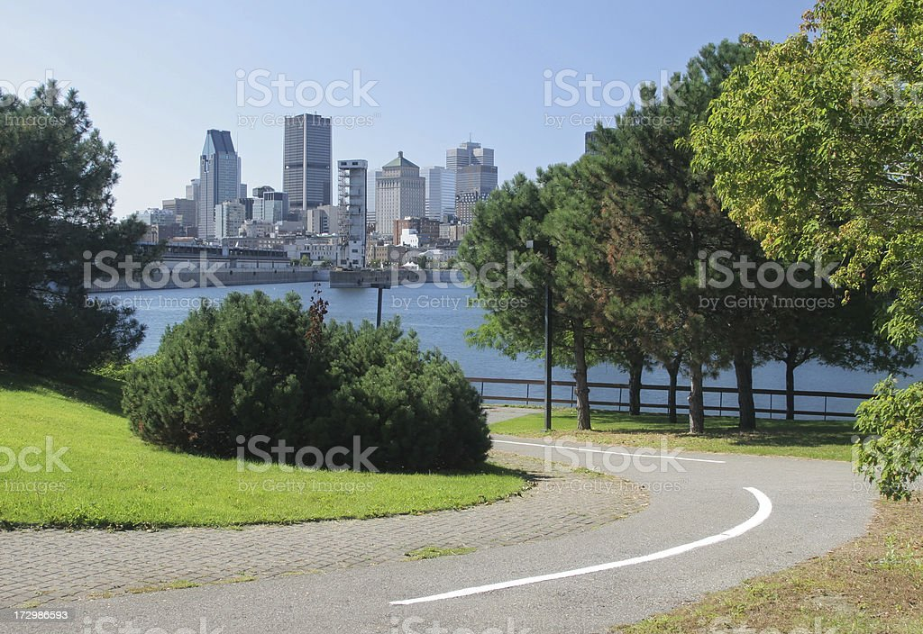 Bicycle Lane in Montreal City Park royalty-free stock photo