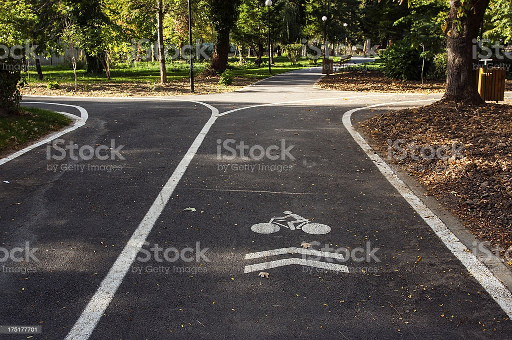 Bicycle lane in park royalty-free stock photo