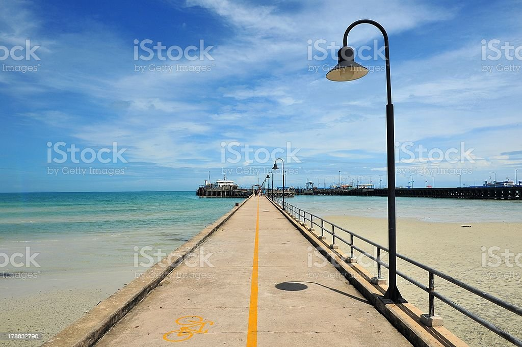 Bicycle lane sign on pier at samui, thailand stock photo