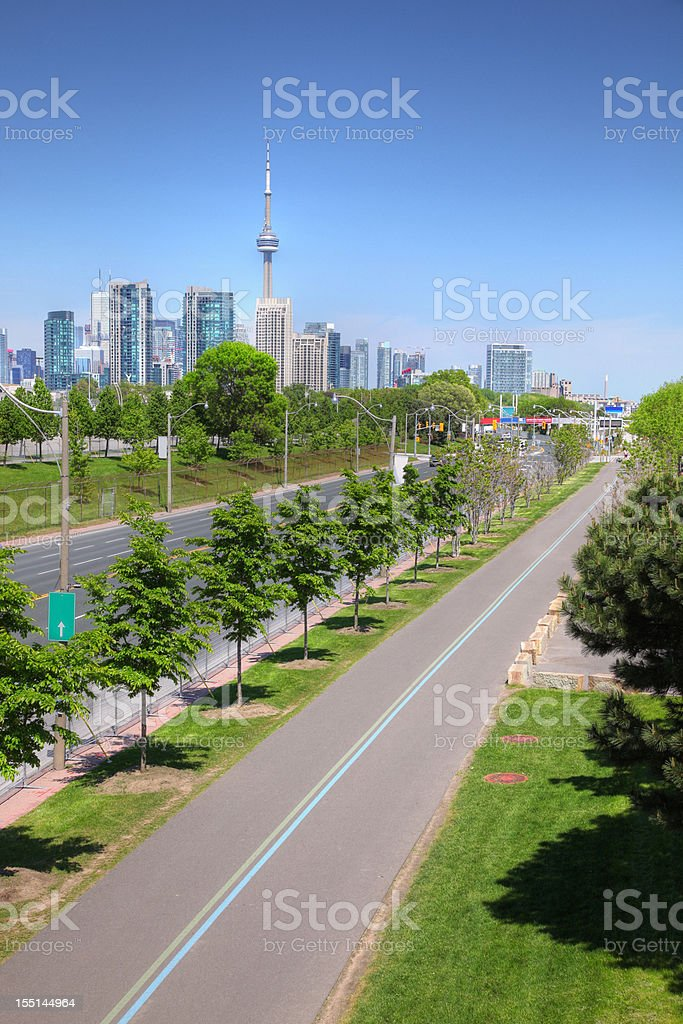 Bicycle Lane to Toronto City stock photo
