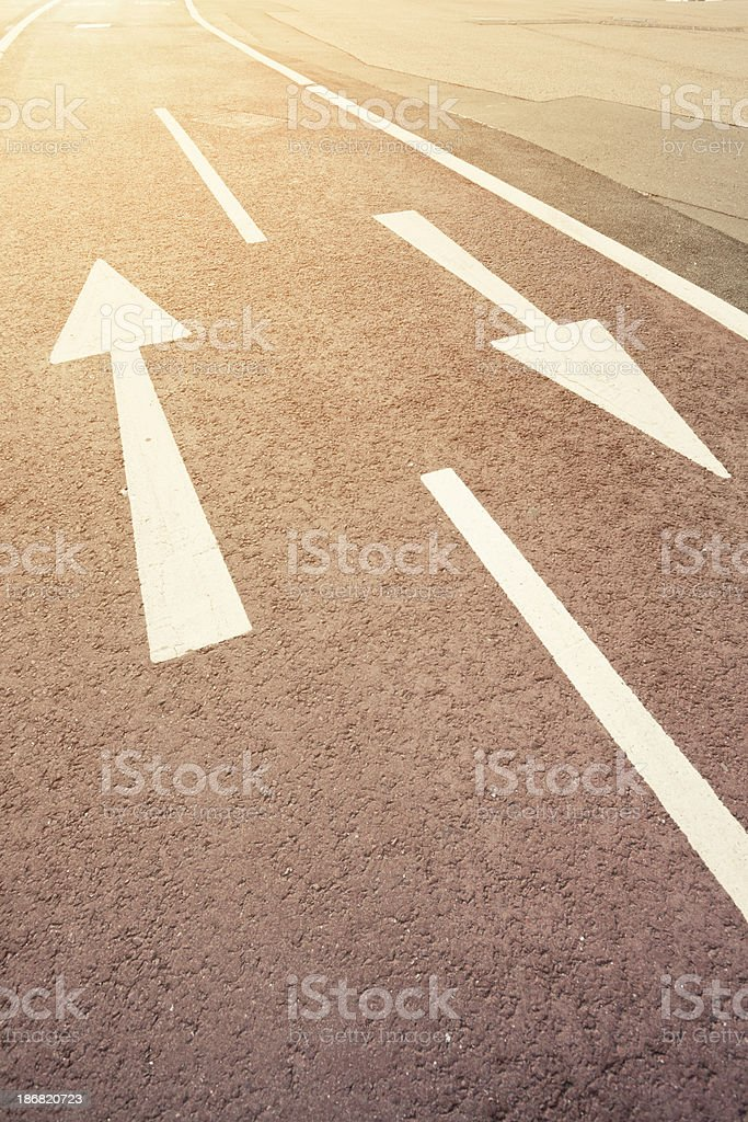 Bicycle Lane toward the light stock photo