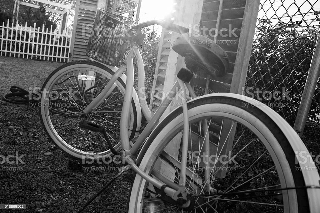 Bicycle Leaning on a Fence stock photo