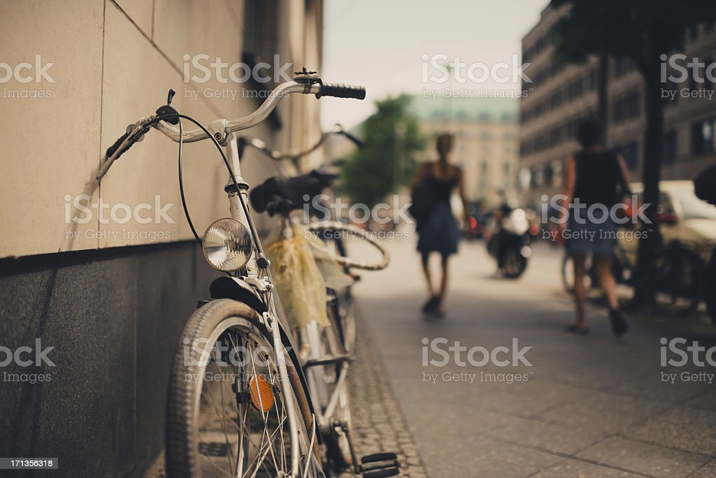 Bicycle leaning stock photo