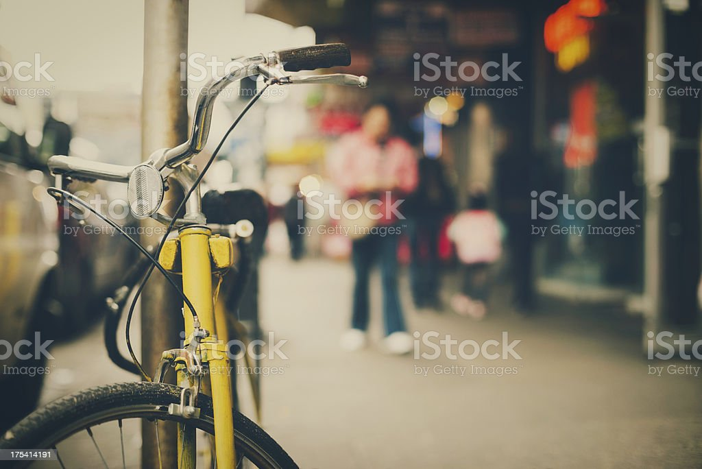 Bicycle leaning royalty-free stock photo
