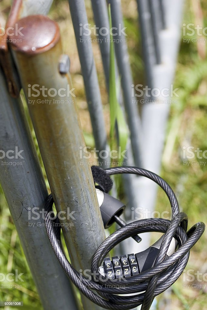 Bicycle lock on Bike Rack royalty-free stock photo