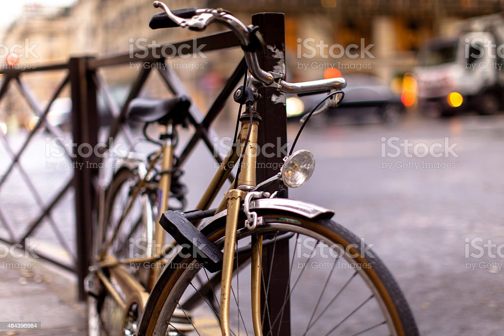 Bicycle Locked to Fence stock photo