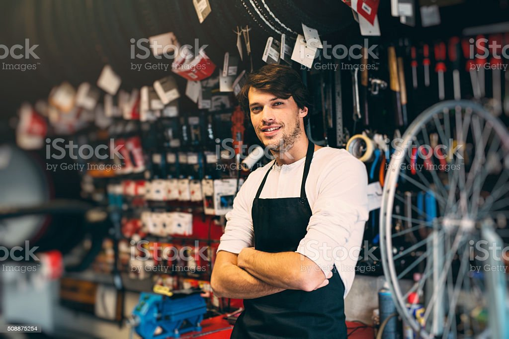 Bicycle Mechanic stock photo