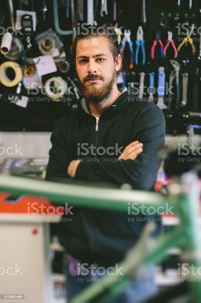Bicycle Mechanic stock photo