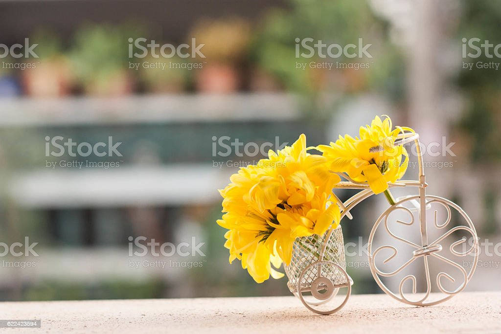 Bicycle model and yellow flower, Selective focus. stock photo