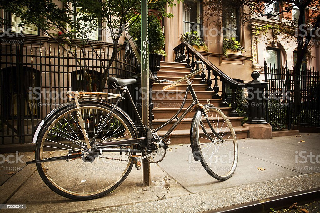 Bicycle on a City Street stock photo